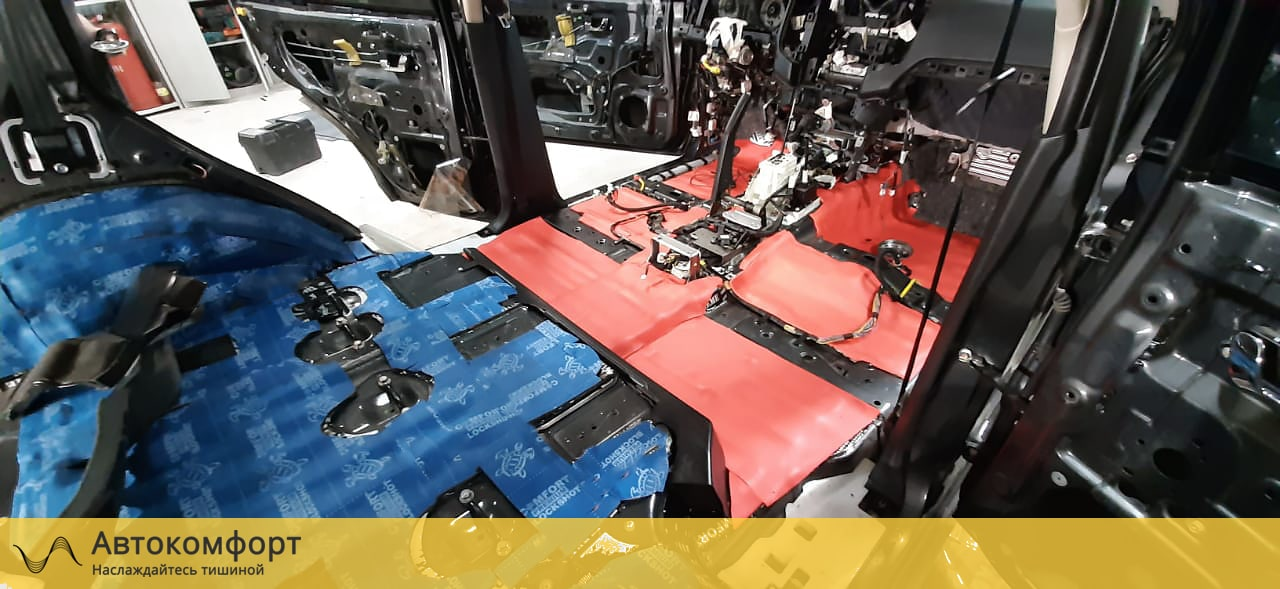 Шумоизоляция пола (днища) Mitsubishi Pajero 4